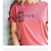 Mujer Sexy Playa Verano Camiseta,Escote Redondo Letra Manga Corta Algodón