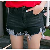 レディース ストリートファッション ミッドライズ スリム ワイドレッグ マイクロエラスティック ジーンズ ショーツ パンツ ゼブラプリント