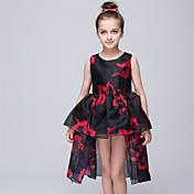 vestido de bola vestido asimétrico de la muchacha de flor - organza cuello sin mangas de la joya con el patrón / impresión de bflower