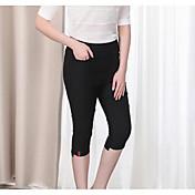 Mujer Casual Tiro Medio Microelástico Delgado Chinos Pantalones,Un Color Verano