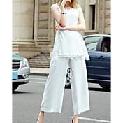 Mujer Chic de Calle Casual/Diario Verano Blusa Pantalón Trajes,Escote Redondo Un Color Sin Mangas
