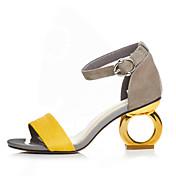 Mujer Zapatos Ante Primavera / Verano Sandalias Heterotypic Heel Puntera abierta Hebilla Negro / Amarillo / Pantalla de color