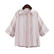 レディース お出かけ シャツ,シンプル シャツカラー ソリッド コットン 七部袖