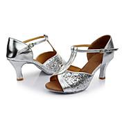Mujer Zapatos de Baile Latino Lentejuelas Sandalia Lentejuela Tacón Personalizado Personalizables Zapatos de baile Plata / Interior