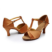 Mujer Zapatos de Baile Latino Seda Sandalia Tacón Personalizado Personalizables Zapatos de baile Marrón / Interior / Cuero