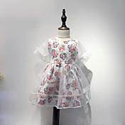 Vestido Chica de Algodón Verano Floral Rosa