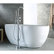 コンテンポラリー アールデコ調/レトロ風 近代の 床取付け ハンドシャワーは含まれている 引出式スプレー 床置き 真鍮バルブ 二つ シングルハンドル二つの穴 クロム , 浴槽用水栓