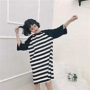 Mujer Simple Casual/Diario Camiseta,Escote Redondo A Rayas Estampado 3/4 Manga Algodón