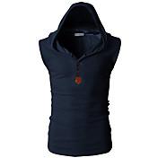 男性用 スポーツ 週末 Tシャツ, 活発的 フード付き スリム ソリッド コットン
