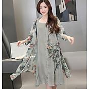 Mujer Sencillo Casual/Diario Verano Blusa Vestidos Trajes,Escote Redondo Estampado Manga Larga Microelástico