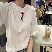 Mujer Simple Casual/Diario Primavera Camiseta,Escote Redondo Floral Manga Corta Algodón