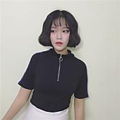 レディース カジュアル/普段着 Tシャツ,シンプル ストリートファッション スタンド カラーブロック コットン 半袖