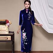 Mujer Vaina Vestido Casual/Diario Tallas Grandes Tejido Oriental,Bordado Escote Chino Maxi Seda Otoño Tiro Medio Microelástico Medio