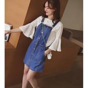 Mujer Casual Casual/Diario Verano T-Shirt Vestidos Trajes,Escote Redondo Bloques Manga 1/2 Microelástico