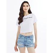 Mujer Camiseta Un Color Letra Algodón