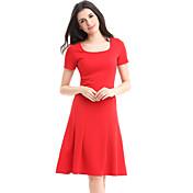 Mujer Línea A Corte Swing Vestido Fiesta Trabajo Tallas Grandes Vintage,Un Color Escote Redondo Hasta la Rodilla Manga CortaAlgodón