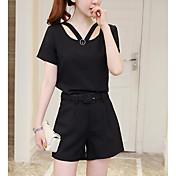 レディース 日常 夏 Tシャツ(21) パンツ スーツ,現代風 ソリッド 半袖