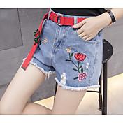 Mujer Bonito Activo Sensual Media cintura strenchy Corte Recto Vaqueros Shorts Pantalones,Un Color Bordado Verano