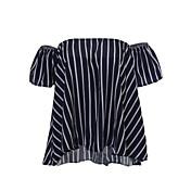 レディース 日常 カジュアル/普段着 夏 ブラウス,シンプル ラウンドネック プリント ポリエステル 半袖 薄手