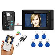 7inch atado con alambre / sin hilos wifi rfid contraseña video teléfono de la puerta timbre intercomunicador del sistema upport app