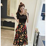 レディース 日常 夏 Tシャツ(21) ドレス スーツ,ソークオフ ラウンドネック フラワー プリント 半袖