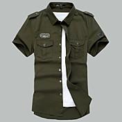 メンズ カジュアル/普段着 夏 シャツ,シンプル シャツカラー ソリッド コットン 半袖 ミディアム