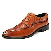 Hombre Zapatos Cuero de Napa Primavera Otoño Confort Zapatos de taco bajo y Slip-On Combinación Para Boda Fiesta y Noche Negro Amarillo