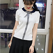 Mujer Regular Pullover Casual/Diario Simple,Un Color A Rayas Escote Redondo Manga Corta Otro Verano Medio Elástico