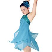 バレエ ワンピース 女性用 子供用 演出 スパンデックス ポリエステル ドレープ 2個 ノースリーブ ナチュラルウエスト ドレス ヘッドピース