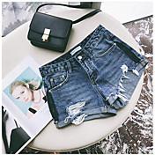 Mujer Bonito Sensual Alta cintura Microelástico Corte Recto Shorts Pantalones,Un Color Vaqueros Verano