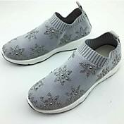Mujer Zapatos de taco bajo y Slip-Ons Confort Tejido Primavera Otoño Casual Paseo Confort Pedrería Tacón Plano Negro Gris 2'5 - 4'5 cms
