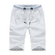 メンズ シンプル ミッドライズ ストレート 非弾性 チノパン ショーツ パンツ 純色 ソリッド タイル柄