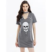 Mujer Camiseta Vestido Noche Casual/Diario Simple Chic de Calle Punk & Gótico,Cráneos Escote en Pico Sobre la rodilla Manga Corta Algodón