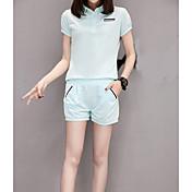 レディース カジュアル/普段着 夏 パーカー パンツ スーツ,シンプル シャツカラー ソリッド 半袖 マイクロエラスティック