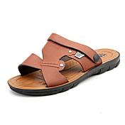 Hombre Zapatos PU Primavera Verano Confort Sandalias para Casual Amarillo Azul Marrón Claro