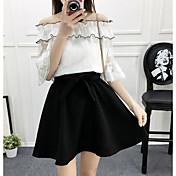 Mujer Moderno / Contemporáneo Casual Verano Blusa Falda Trajes,Escote Barco Un Color Manga 1/2 Microelástico