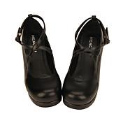 Zapatos Amaloli Lolita Clásica y Tradicional Lolita Princesa Hecho a Mano Tacón Cuadrado Zapatos Lolita 4.5 CM Negro (iPhone4) Blanco Para