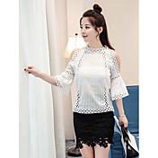 Mujer Simple Casual/Diario Verano T-Shirt Falda Trajes,Escote Chino Un Color