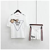 レディース お出かけ 夏 Tシャツ(21) パンツ スーツ,キュート ラウンドネック ソリッド フラワー すかしカット 半袖 マイクロエラスティック