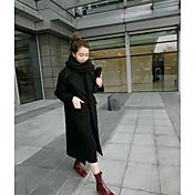 レディース カジュアル/普段着 秋 冬 コート,カジュアル スタンド ソリッド レギュラー ポリエステル 長袖