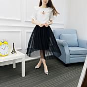 レディース 日常 夏 Tシャツ(21) スカート スーツ,ソークオフ ラウンドネック ソリッド 半袖