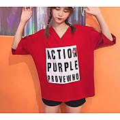 レディース カジュアル/普段着 Tシャツ,シンプル Vネック ソリッド プリント コットン 七分袖