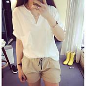 Mujer Camiseta, Escote en Pico Un Color Algodón