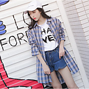 Mujer Vintage Deportes Camiseta,Escote Redondo A Rayas Manga Corta Algodón Acrílico