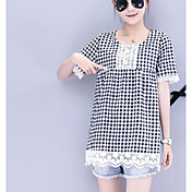 Mujer Simple Casual/Diario Camiseta,Escote Redondo Un Color Cuadrícula Media Manga Algodón