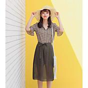 レディース カジュアル/普段着 夏 シャツ スカート スーツ,シンプル シャツカラー 格子柄 ハーフスリーブ
