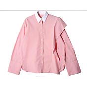 レディース カジュアル/普段着 シャツ,シンプル シャツカラー ストライプ コットン 長袖
