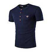男性用 スポーツ - パッチワーク Tシャツ ラウンドネック ソリッド コットン