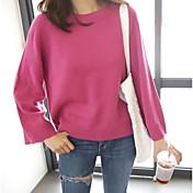 Mujer Regular Pullover Casual/Diario Un Color Escote Redondo Manga Larga Poliéster Primavera Fino Microelástico