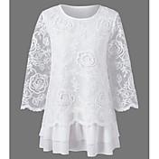 Mujer Simple Casual/Diario Verano Camiseta,Escote Redondo Un Color Manga 3/4 Algodón